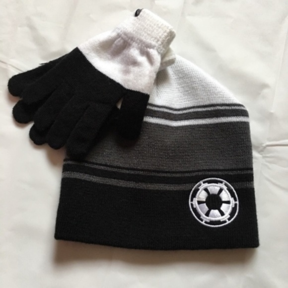 Star Wars Imperial Crest Hat   Gloves Set Men New 4a2061de8a46